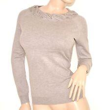 MAGLIETTA BEIGE TORTORA donna girocollo manica lunga sottogiacca maglione Z15