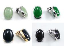 Light Green Jade Black Agate Oval Beads 18KWGP 18KGP Clip-On Earrings