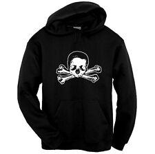 Skull & Cross Bones Pirate Hoodie Pullover Sweatshirt Size S-3XL Black Gothic