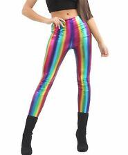 Womens Rainbow Shiny Metallic Pants Ladies Dance Party Wear Wet Look Leggings