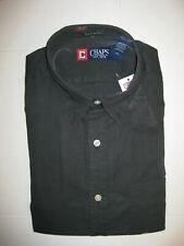 CHAPS MENS BLACK DRESS LONG SLEEVE LINEN BLEND SHIRT sz S, M, L, XL,XXL *NWT*