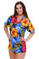 Funky Hawaiibluse Big Flower Türkis versch. Größen Hawaiishirt