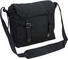 Mens Army Surplus Military Canvas Travel Shoulder Messenger Bag Satchel Black