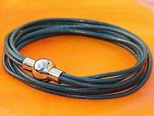 Ladies Dark Green leather & stainless steel double wrap bracelet - Lyme Bay Art