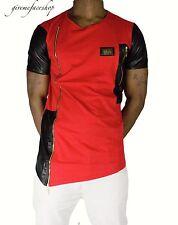 El tiempo es dinero Rojo Zip-Star Club T Shirt, urbana rap hiphop g de cuero PU para Hombre Tees