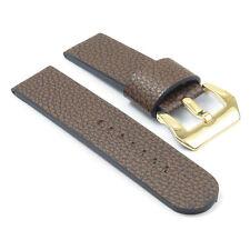 DASSARI Aztek Leather Watch Strap in Brown w/ Yellow Gold Pre-V Buckle Panarai