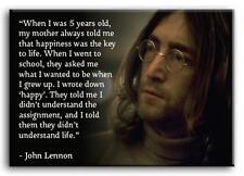 PREMIUM CANVAS ART John Lennon Happy quote MANY SIZES