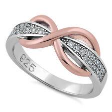 Anello da Sposa Alleanza di Fidanzamento Infinito Rosa d'Argento Sterling 925