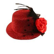 Haarklammer mit Hut & Feder glitzernd - groß - in vielen Farben erhätlich