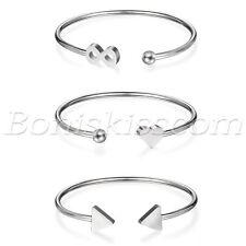 Women's Polished Charm Stainless Steel Geometric Open End Bangle Bracelet Cuff