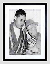 Vintage Mike Jacobs Joe Lewis boxeo negra imagen de impresión arte enmarcado B12X11705