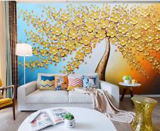 Papel Pintado Mural Vellón Árboles De Pétalos De Oro 2 Paisaje Fondo De Pantalla