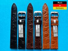 Brazil Uhrband im Kroko Stil in schwarz und braun 16 17 18 19 20mm flach elegant