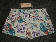 Vintage Havana Floral Shorts, Ivory Print, Low-Cut Fringe. NWTs,