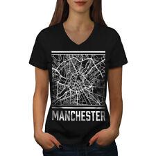 Wellcoda England Manchester Womens V-Neck T-shirt, Big Graphic Design Tee