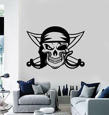 Vinyl Wall Decal Pirate Swords Skull and Bones Marine Bandit Stickers (g1591)