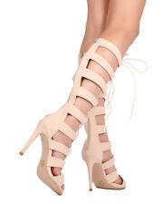 New Women DbDk Club-24 Leatherette Knee High Peep Toe Gladiator Stiletto Sandal