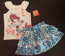 NWT Gymboree Girl Mermaid Cove White Mermaid Tank $ Swing Skort Outfit 3T 5T