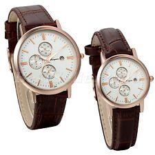 Couples Simple Roman Numberals Leather Strap Quartz Date Decoration Wrist Watch