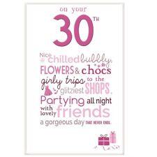 Little Thoughts Joyeux 30th Carte d'anniversaire & ENVELOPPE CARTE DE VOEUX Rose