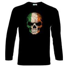 Skull Schädel Irish Flag Ireland Long Sleeve T-Shirt