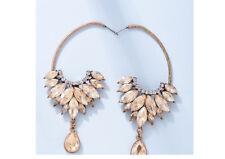 Vintage Women Flower Tassel Crystal Drop Dangle Waterdrop Earrings Hoop Jewelry