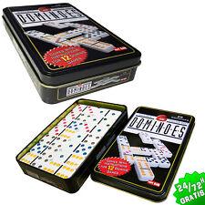 Gioco da Domino 28 schede di vari colori 91 pezzi Scatola metallo doppio 6