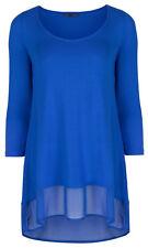 Marks & Spencer Womens Sapphire Blue Top New M&S Chiffon Hem Long Sleeve Blouse