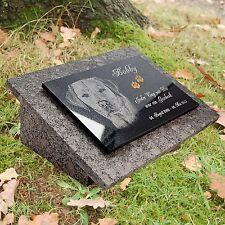 GRANIT Grabstein Doppel Grabplatte+Stützen 40x30 cm Foto+Text Gravur Hund-gg16s