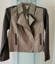 EILEEN FISHER  STONE Asym Zip Jacket, Organic Linen Size XS, S Retail $258 NWT