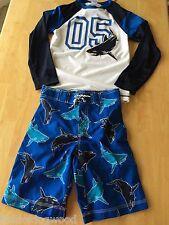 NWT Gymboree Boys Swimsuit Shark Rash Guard Swim trunk Set 2t 3t 5 6 7 8