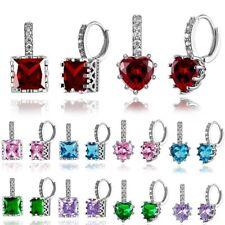 Fashion CZ Zircon Crystal Heart Crown Earrings Hoop Women Wedding Jewelry Gift