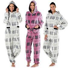 Ladies Maya Nordic Fairisle Hooded Onesie Fleece Pyjama Sleepsuit Sizes 10-20