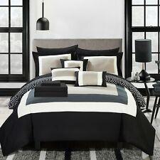 Kavalier 10 Piece Comforter Bed in a Bag Sheets Decorative Pillows Shams Black