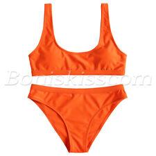 2pcs Women Sports Style Solid Top High Waisted Bottom Swimsuit Bathing Beachwear