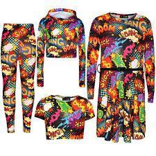 Kids Girls Wow Bang Boom Skater Dress Hooded Crop Top T Shirt Legging 7-13 Years