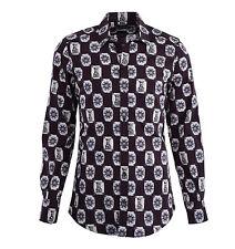 DOLCE & GABBANA GOLD RUNWAY Hemd mit Turm & Sonnen Print Braun Beige Shirt 04808