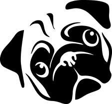 Pug Face Decal Window Bumper Sticker Car Decor Dog Pet Breed Pugs Love K9 Head