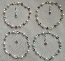 Antique silver tone flower daisy chain pearl anklet ankle bracelet bridal