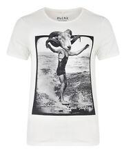 New Blend Men's Surf Beach Summer Print T-Shirt Jersey Cotton Top Cream Beige