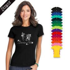 Camiseta para Señoras Algodón Estrás Piedras Cuadro Calle Perro Border Collie M2
