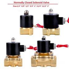 "DC12V/24V AC220V Solenoid Valve Air Water Gas Oil Brass Normally Closed 1/4""-2"""