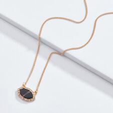 Mini Geometric Rhinestone Pave Oval Pendant Necklaces Faceted Stone Choker Jewel