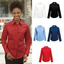 Fruit of the Loom Womens Lady-Fit Poplin Long Sleeve Shirt Workwear Uniform