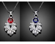 Silver Sunflower Cubic Zircona Sapphire Gamstone Topaz Pendant Necklace Gift S3