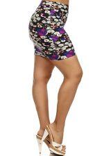 Womens Black/Purple Floral Print Mini Skirt One Sz Fit  XL,1X,2X & (14W,16W,18W)