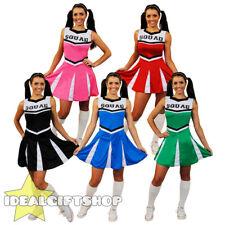 LADIES HIGH SCHOOL CHEERLEADER FANCY DRESS COSTUME BLACK BLUE GREEN PINK RED
