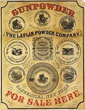 """""""Gunpowder For Sale Here"""" Gun Powder Laflin 1850 Advertisement Wall Art Poster"""