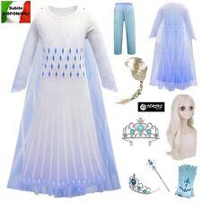 Frozen 2 pz Vestito Carnevale Elsa Bianco White Simil Elsa Costume Dress FROZ036
