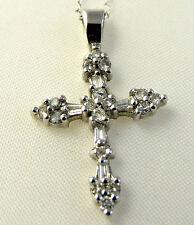 Genuine DIAMOND Cross. 5 Baguette Cut, 26 Round Cut Diamonds White Gold w chain